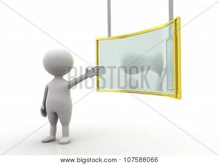 "3D Man Presenting ""presentation Board "" Concept"