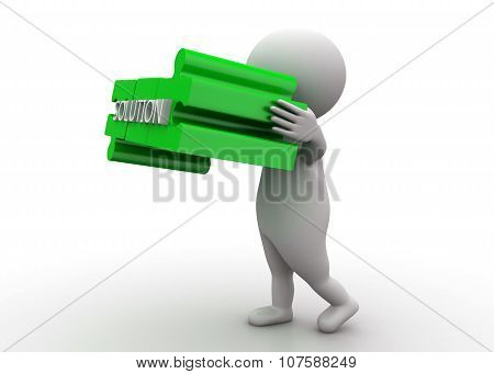 3D Man Holding Puzzle Presenting Solution Text In It Concept