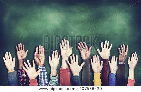 Hands Raised Togetherness Diversity People Concept