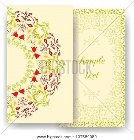 Vintage romantic cards. Floral decorations, leaves, flowers patterns ornaments. Vector. Luxury elega