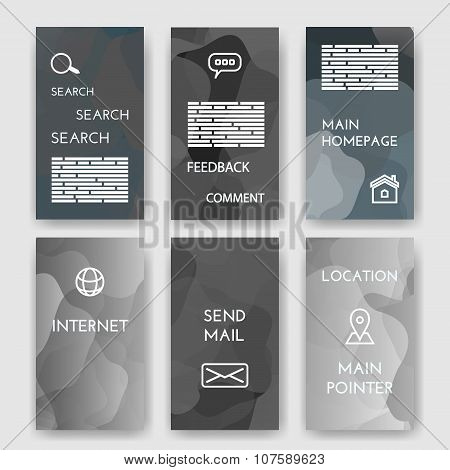 Set of poster, flyer, brochure design templates with Map Location, Mail, Internet, Homepage for web