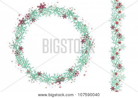 Round Christmas wreath  isolated on white. Endless vertical pattern brush. For festive design, announcements, postcards, posters.