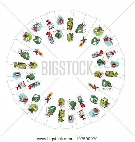 Round frame with different vintage gift boxes. Wreath for your design, Christmas announcements, greeting cards, posters.
