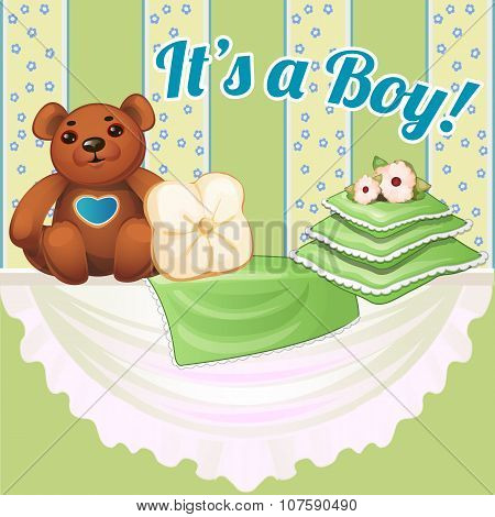 Decor baby cot with pillows and soft bear