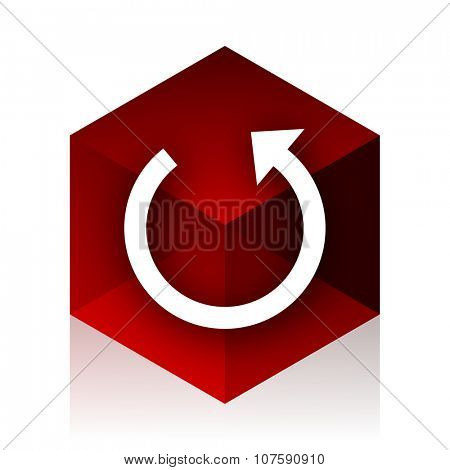 rotate red cube 3d modern design icon on white background