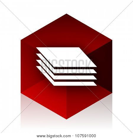 layers red cube 3d modern design icon on white background