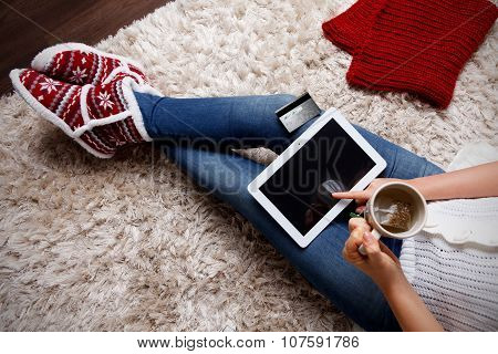 Woman Having A Cup Of Tea at home