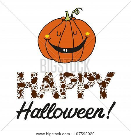 Vector Hand Drawn Halloween Postcard With A Jack O Lantern