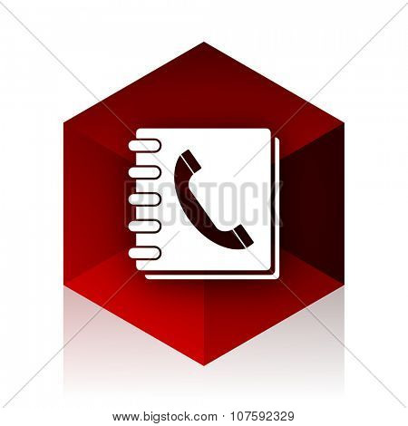 phonebook red cube 3d modern design icon on white background