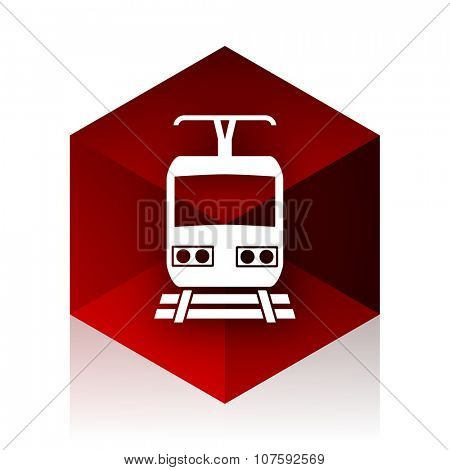 train red cube 3d modern design icon on white background