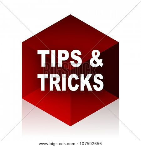 tips tricks red cube 3d modern design icon on white background