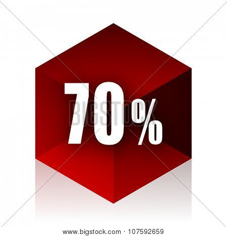 70 percent red cube 3d modern design icon on white background