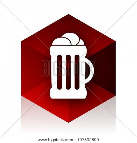beer red cube 3d modern design icon on white background