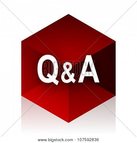 question answer red cube 3d modern design icon on white background