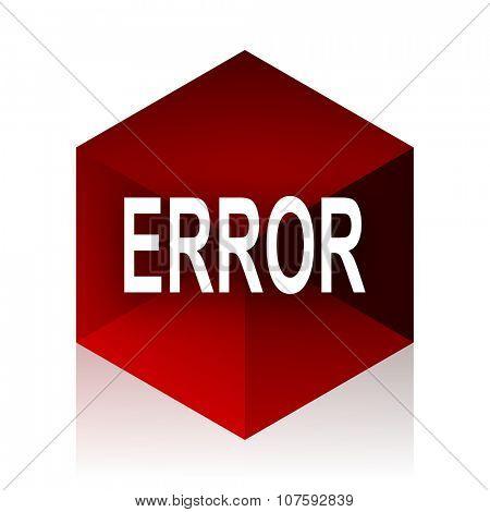 error red cube 3d modern design icon on white background