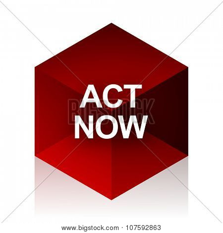 act now red cube 3d modern design icon on white background
