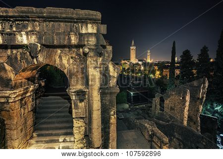 Night shot of the remains of ancient buildings in the town of Verona. Italy