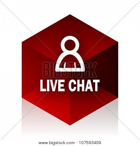 live chat red cube 3d modern design icon on white background