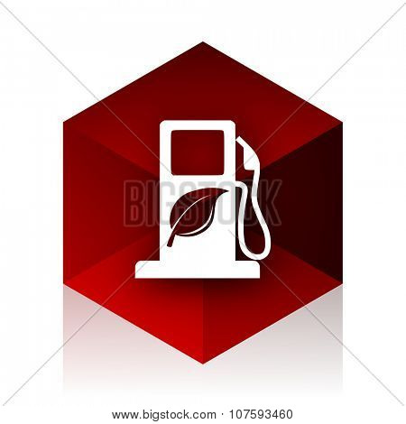 biofuel red cube 3d modern design icon on white background