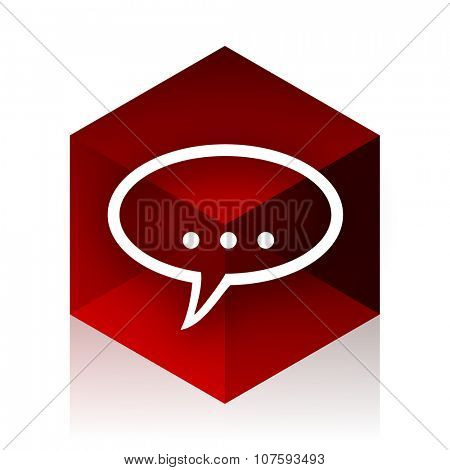 forum red cube 3d modern design icon on white background