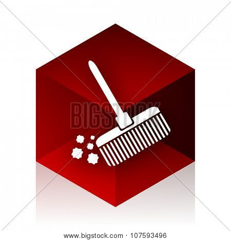broom red cube 3d modern design icon on white background