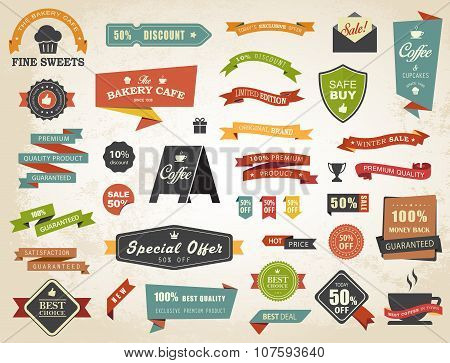 Label Banner Tag Sticker Badge Vintage Vector Set