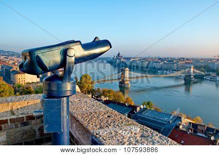 Tourist Binoculars At Budapest