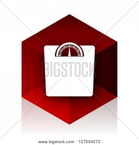 weight red cube 3d modern design icon on white background