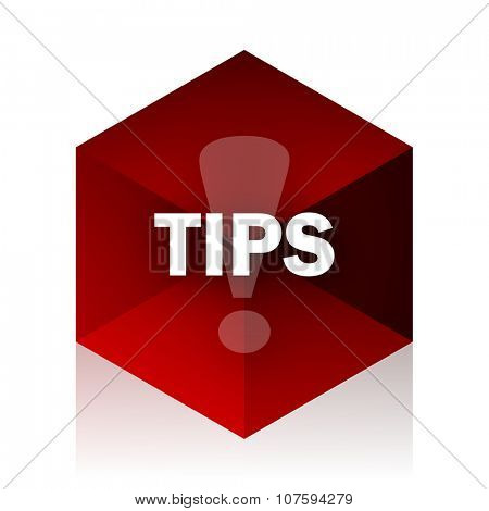 tips red cube 3d modern design icon on white background