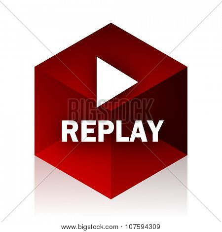 replay red cube 3d modern design icon on white background