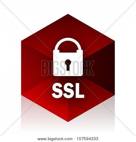 ssl red cube 3d modern design icon on white background