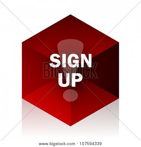 sign up red cube 3d modern design icon on white background