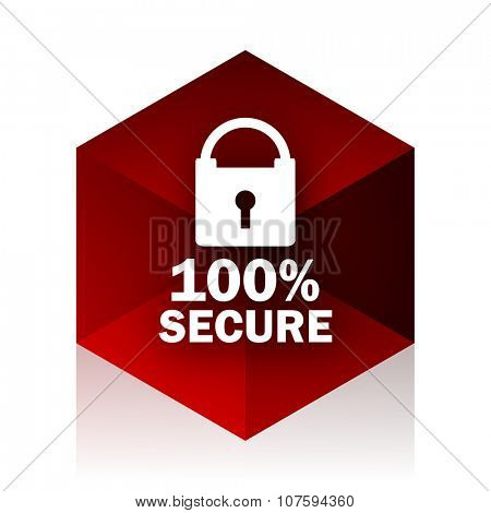 secure red cube 3d modern design icon on white background