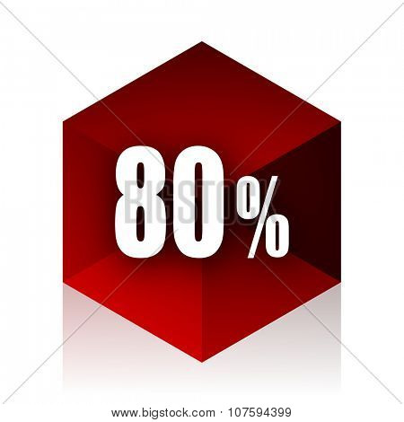 80 percent red cube 3d modern design icon on white background