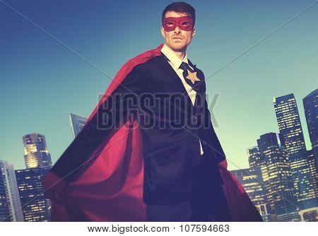 Superhero Costume Businessman Cityscape Concept