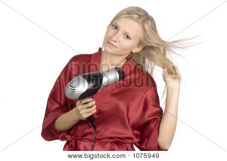Young Woman Dressed Red Bathrobe Using  Hair Drier