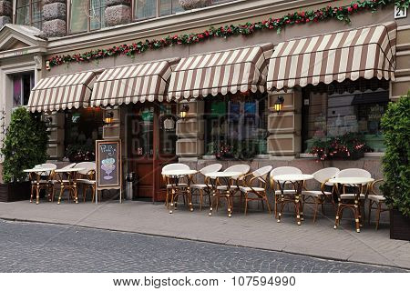 Street Cafe In Old Town In Vilnius, Lithuania.
