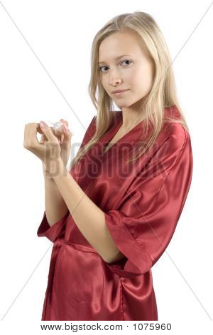 Young Woman Dressed Red Bathrobe Painting Nails