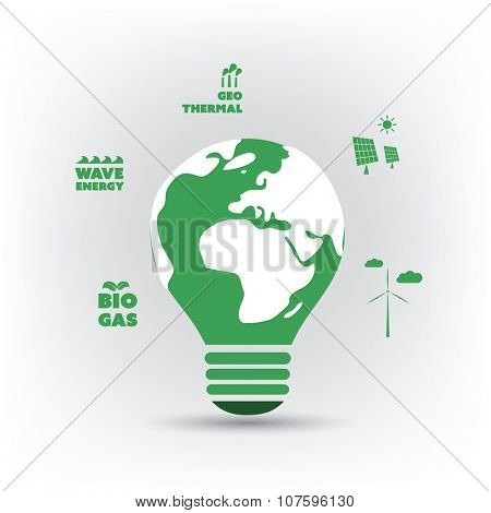 Think Green. Green Electricity. Eco Friendly Ideas In The Light Bulb Symbol - Background Concept Design