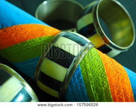 Colourful Serviettes with Napkin Rings