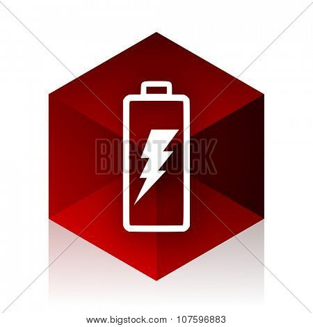 battery red cube 3d modern design icon on white background