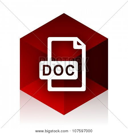 doc file red cube 3d modern design icon on white background