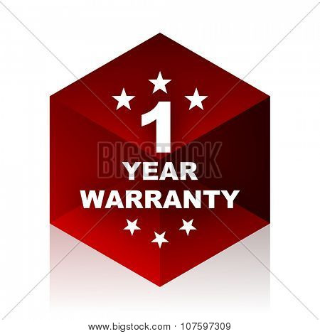 warranty guarantee 1 year red cube 3d modern design icon on white background