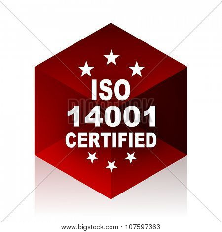 iso 14001 red cube 3d modern design icon on white background