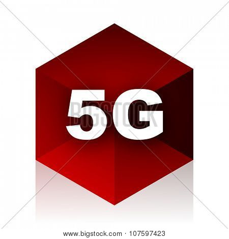 5g red cube 3d modern design icon on white background