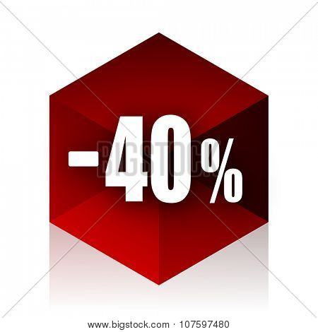 40 percent sale retail red cube 3d modern design icon on white background