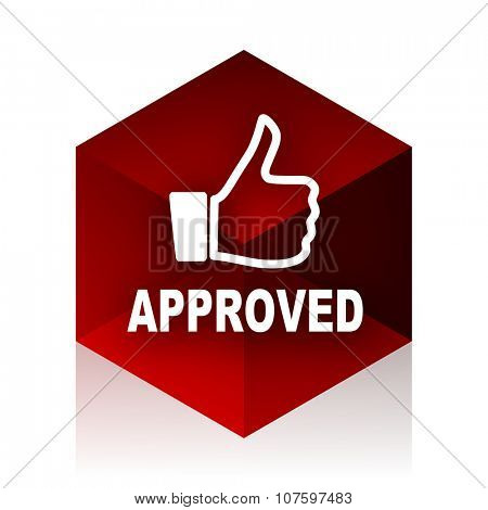 approved red cube 3d modern design icon on white background