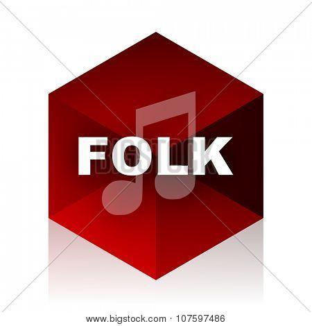 folk music red cube 3d modern design icon on white background