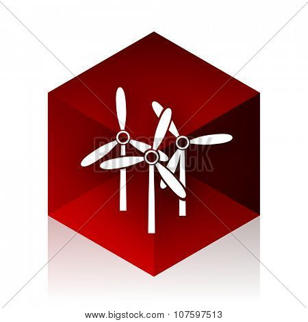 windmill red cube 3d modern design icon on white background