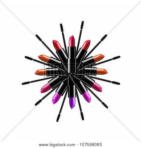 Beauty and fashion illustration - mascara and lipstick logo illustration